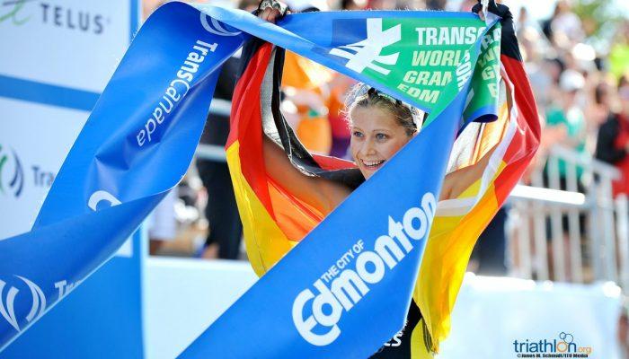 Sophia Saller, die viel aus dem Leistungssport gelernt hat, beim Titelgewinn der Junioren-WM im Triathlon